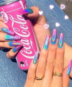 Summer Holographic Acrylic Nail Design
