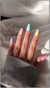 Solid with Pastels nail design