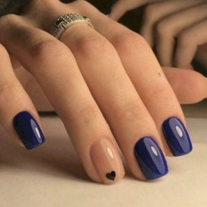 Indigo Heart Shape Nail Design