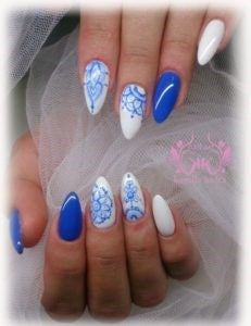 Aqua blue and white flower nail design
