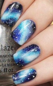 Galaxy Blue Nail Design