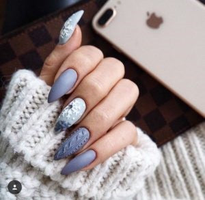 Matte Sweater striped pastel blue nail design