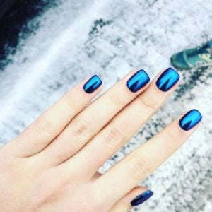 Blue Holographic Nail Art Design