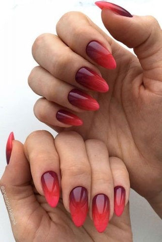 Mirror red ombre nail design