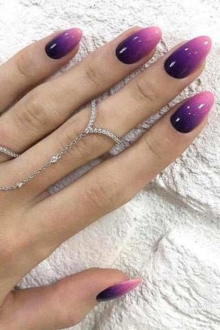 Purple mood ombre nail design