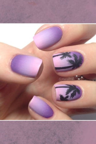Fashion palm tree ombre nail design