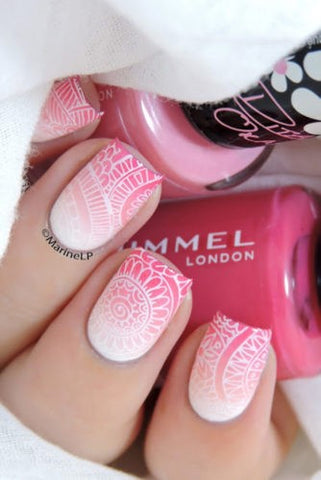 Pink pattern ombre nail design