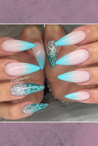 3 colors ombre nail design with glitter