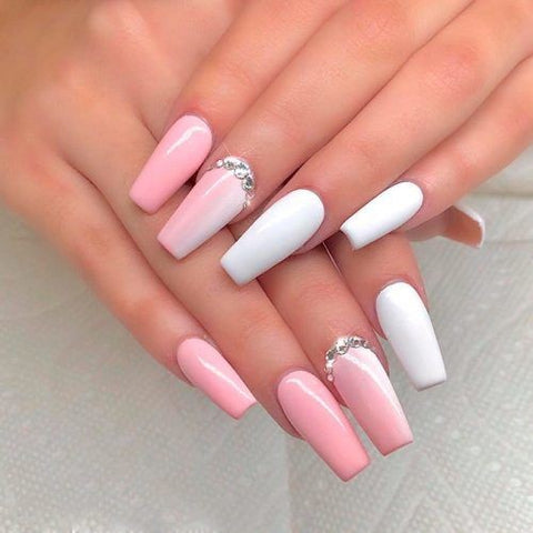 Vertical gradient ombre nail design