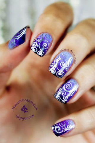 Purple pattern ombre nail design