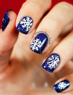 Christmas Nail Art With Snowflakes1