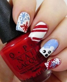 Christmas Nail Art With Snowflakes8