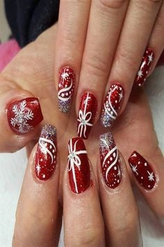 Christmas Nail Art With Snowflakes9