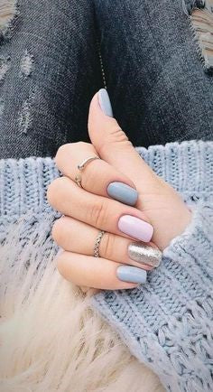 Pastel grey blue nail art