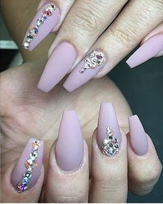 Rhinestone coffin nail designs2