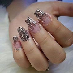 Glitter chrome powder coffin nail designs2