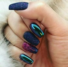Glitter chrome powder coffin nail designs3