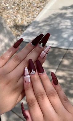 Burgundy Nails Coffin design1