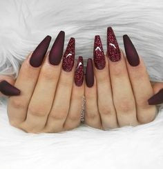 Burgundy Nails Coffin design2