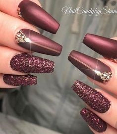 Burgundy Nails Coffin design3