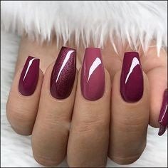 Coffin Burgundy Nail Design