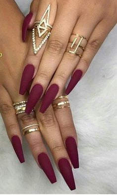 Matte Burgundy Long Nail Design
