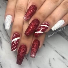 Christmas Burgundy Nail Design