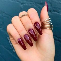 Gel Burgundy Nail Design