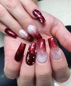 Winter Burgundy Nail Design