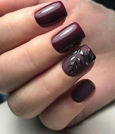 Leaves Burgundy Nail Design