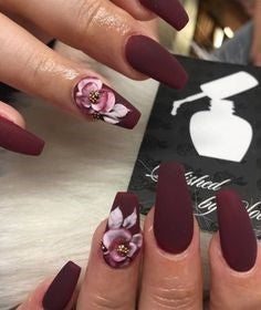 Flower Burgundy Nail Design