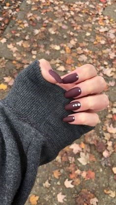Point Burgundy Nail Design