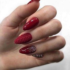 Pattern Burgundy Nail Design