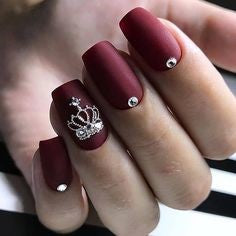 crown Burgundy Nail Design