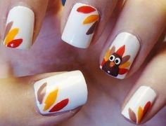 Cute turkey nail design