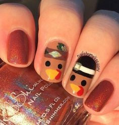 Cute Turkey Head Nail Design