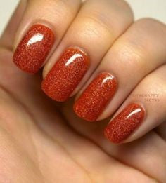 Orange Holographic Thanksgiving Nail Design