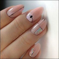 Simple Line Nude Nail Design