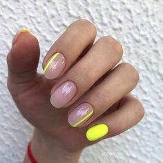 Yellow Nude Nail Design