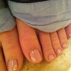 Simple heart shape Toe Nail Designs