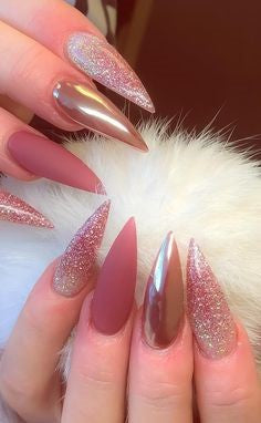 Glitter Stiletto Nail Designs