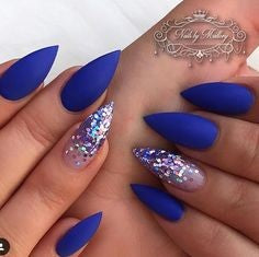 Matte Blue Stiletto Nail Designs