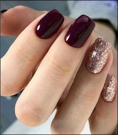 Burgundy Square Nail Design