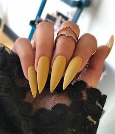 Yellow Stiletto Nail Designs