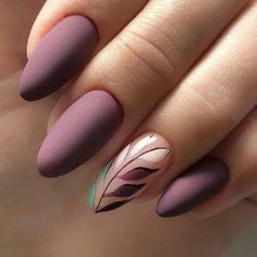 Purple Plant Matte Nail Design