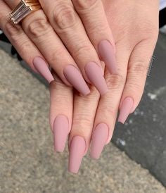 Pink Coffin Matte Nail Design