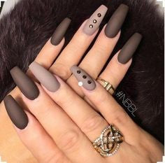 Brown Rhinestone Matte Nail Design