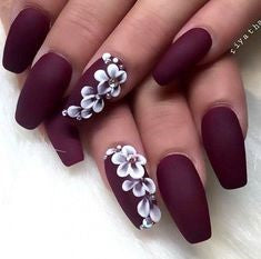 3D Sticker Flower Matte Nail Design