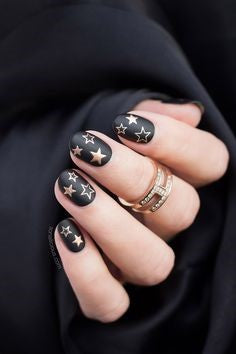 Matte Black Star DIY Nail Design