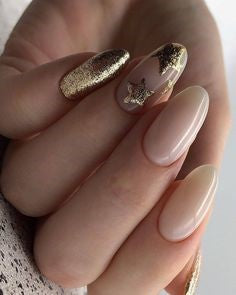Golden Glitter Star Nail Design
